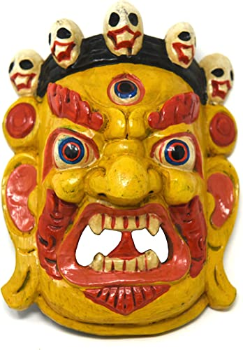 TM THAMELMART FOR BEAUTIFUL MINDS Hand Craving Nepalese Lord Mahakala Tibetan Buddhism Wooden Mask Wall Decor Yellow
