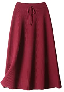 de3c580989 Youhan Women's Winter Elastic Pleated Knit Long Skirt (Free Size ...