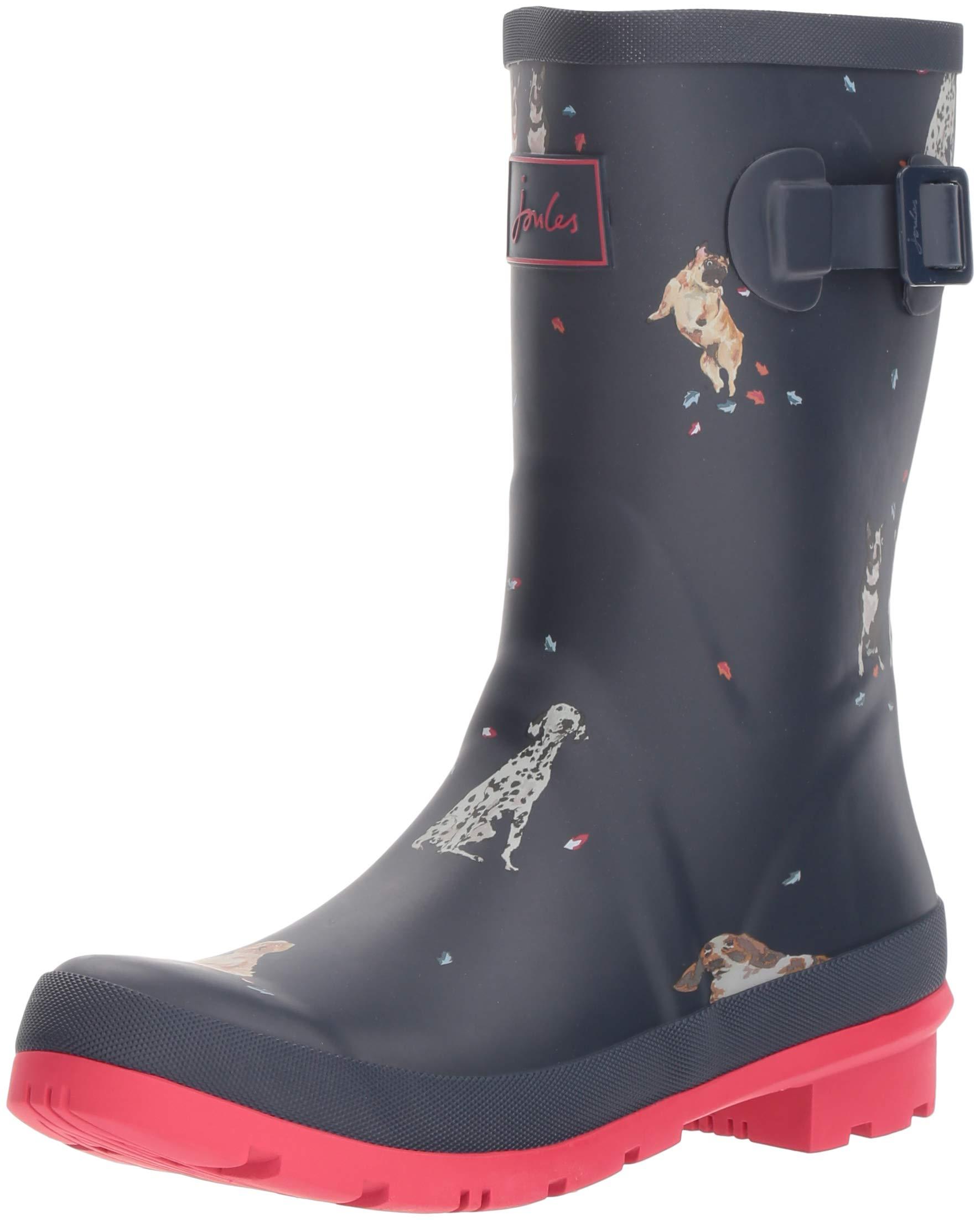 Joules Women's Wellibob Rain Boot, French Navy Chestnut Leaves, 6 Medium UK (8 US)