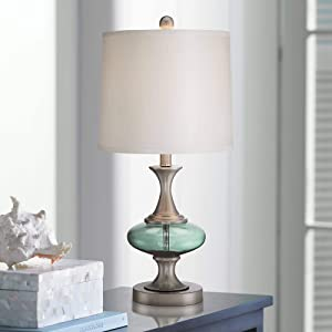 Reiner Modern Accent Table Lamp Brushed Steel Blue Green Glass Off White Drum Shade for Living Room Family Bedroom Bedside