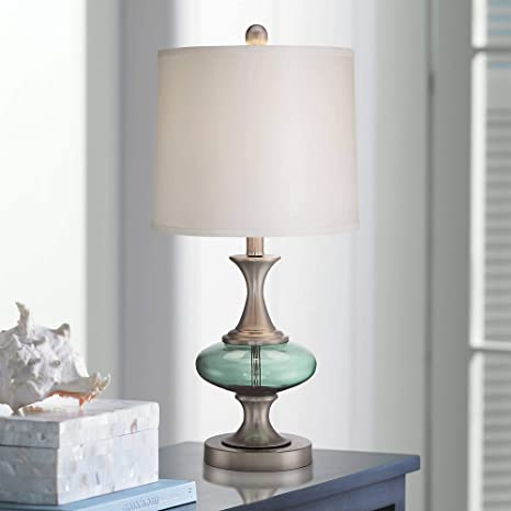 Reiner Modern Accent Table Lamp Brushed Steel Blue Green Glass Off ...
