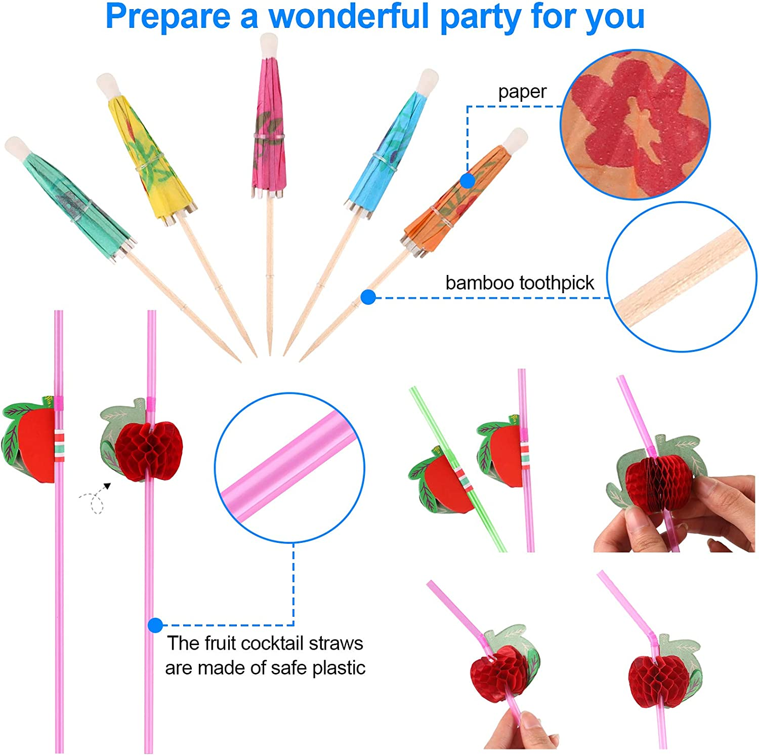 Hoiny Cocktail Decorations for Drinks Flamingo Stirrers for Hawaiian Tropical Party Decoration 65 Pieces Cocktail Party Decorations Includes Cocktail Umbrella Pick 3D Fruit Straws