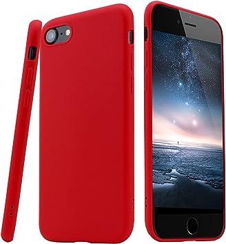 LIVHÒ | 2 Fundas por iPhone 7 – Carcasa Color Rojo Mate en Silicona + Case Fina TPU traslucido Antideslizante + Protector de pantalla en vidrio templado + Paño de limpieza: Amazon.es: Electrónica