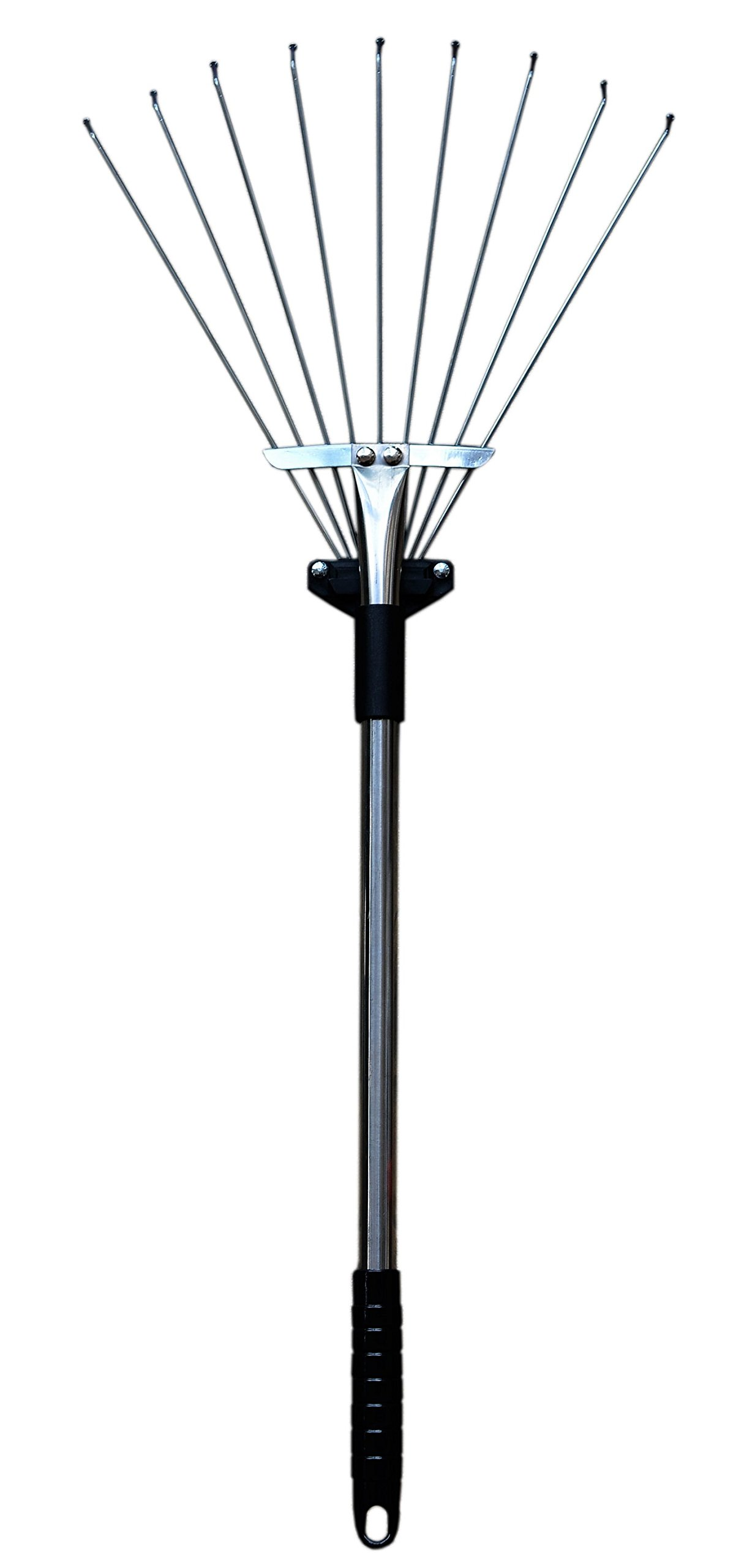ZaoProteks ZP5802 Stainless Steel Garden Rake, Hay Rake, Lawn rake (Black Handle)