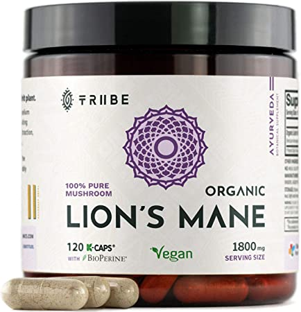 100% Pure Lions Mane Organic Mushroom Extract (Fruiting Body) + Bioperine (Absorption Enhancer) - 120 Vegan Capsules, 1800mg - Brain Booster. Mental Clarity. Stress and Anxiety Relief. Immune Support