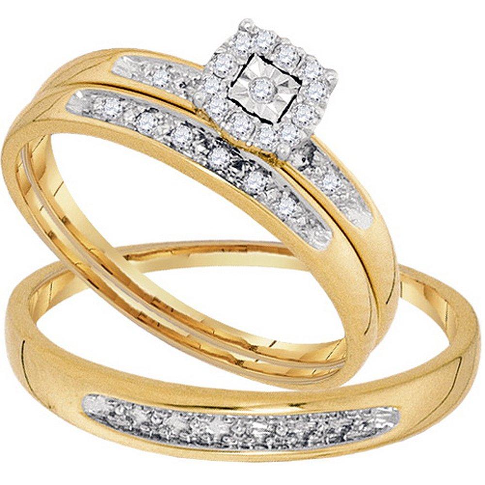 Dazzlingrock Collection 0.08 Carat (ctw) 10K Round White Diamond Men & Women Cluster Engagement Ring Trio Bridal Set, Yellow Gold