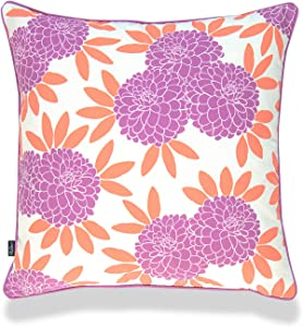 Hofdeco Spring Garden Indoor Outdoor Pillow Cover ONLY, Water UV Resistant for Patio Lounge Sofa, Purple Coral Chinoiserie Floral, 18