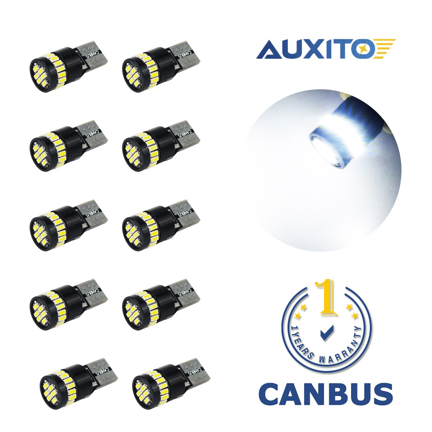 AUXITO 194 LED Light Bulb 6000K White Super Bright 168 2825 W5W T10 Wedge 24-SMD 3014 Chipsets LED Replacement Bulbs Error Free for Car Dome Map Door Courtesy License Plate Lights (Pack of 10) by AUXITO (Image #2)