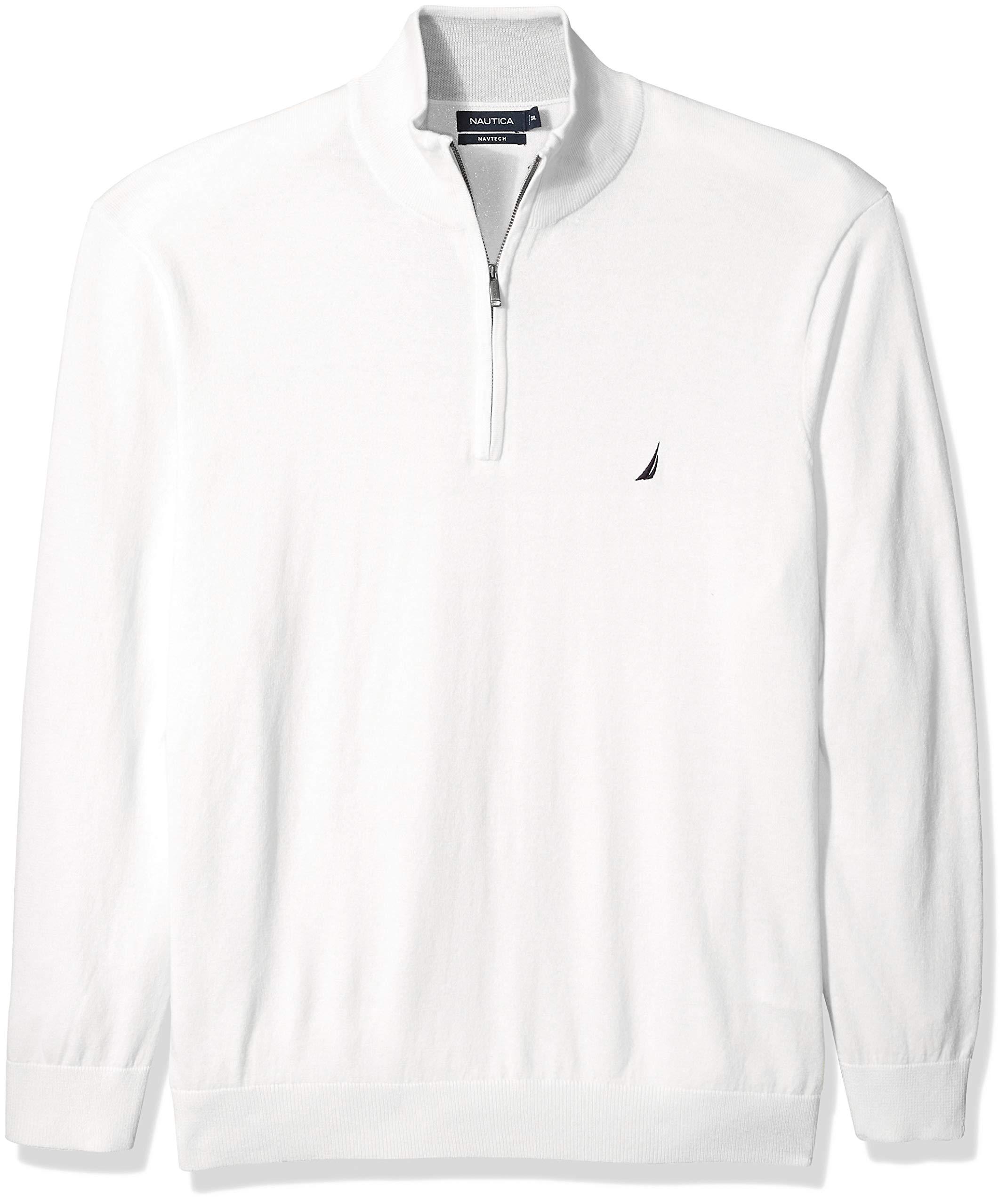Nautica Men's Big and Tall Half-Zip Mock Neck Sweater, Marshmallow, 3X-Large