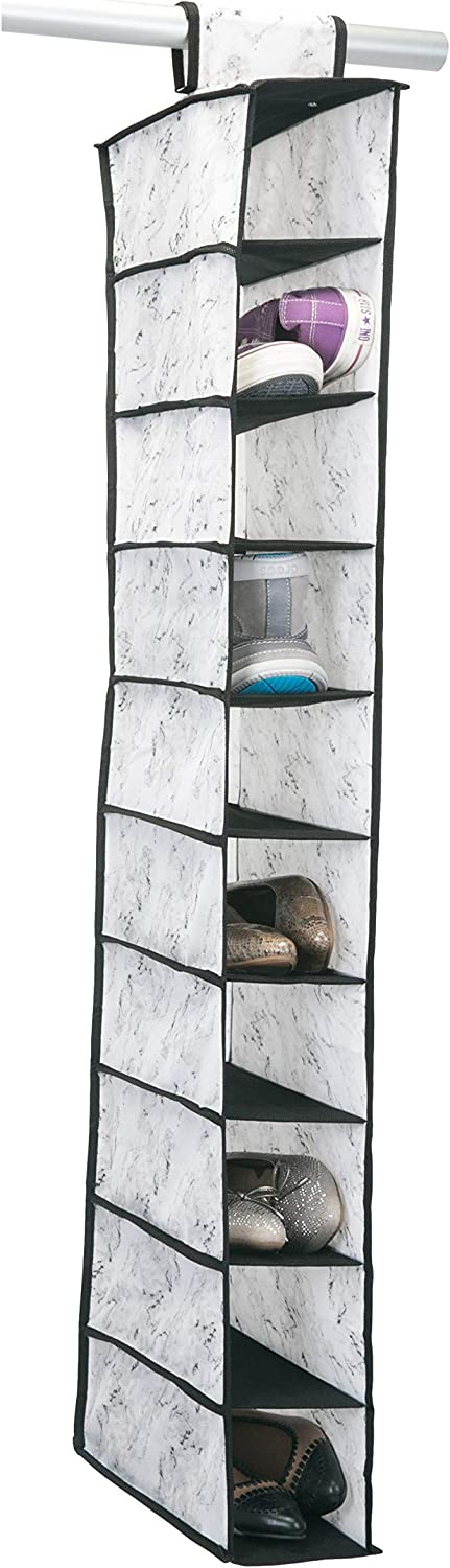 Shoe /& Accessory Storage Simplify 10 Shelf Hanging Closet Organizer Breathable Material Keeps Away Dust /& Odors Space Saver Dusty Blue Shelving
