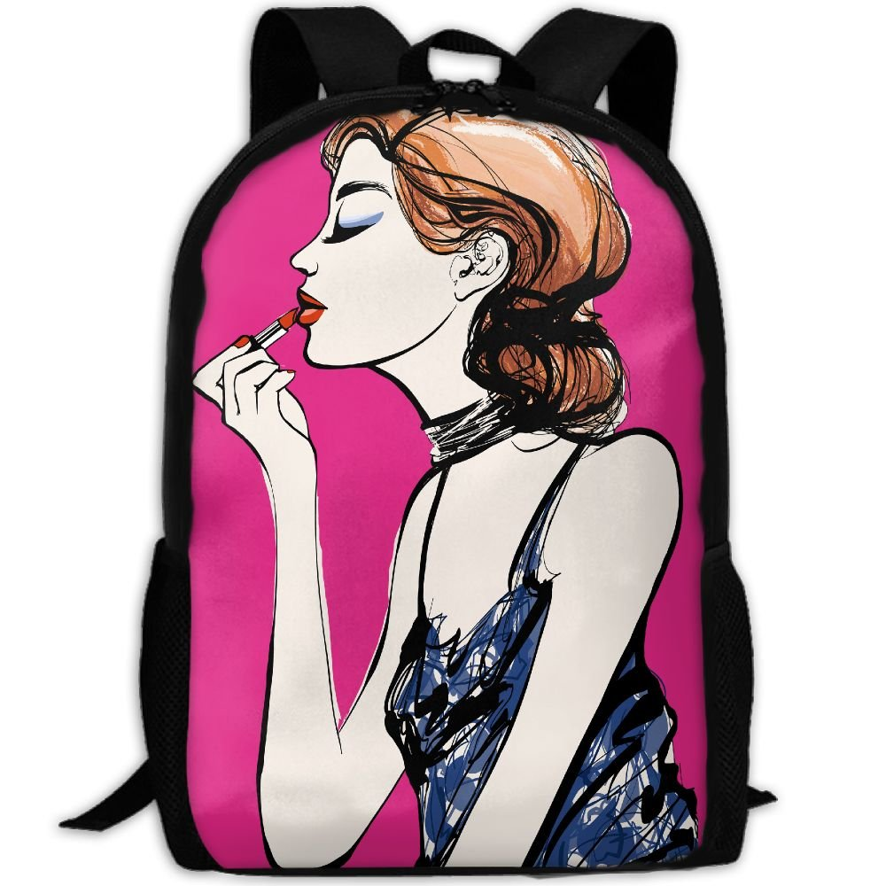 Gold Hair Women Lipstick Double Shoulder Backpacks For Adults Traveling Bags Full Print Fashion by Tt123