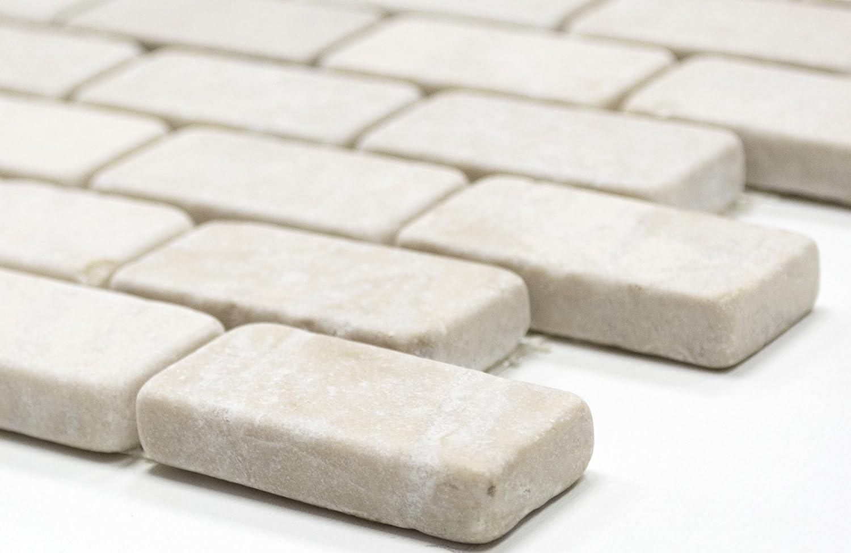 - Mosaic Network White Tumbled Marble Natural Stone Kitchen Wall