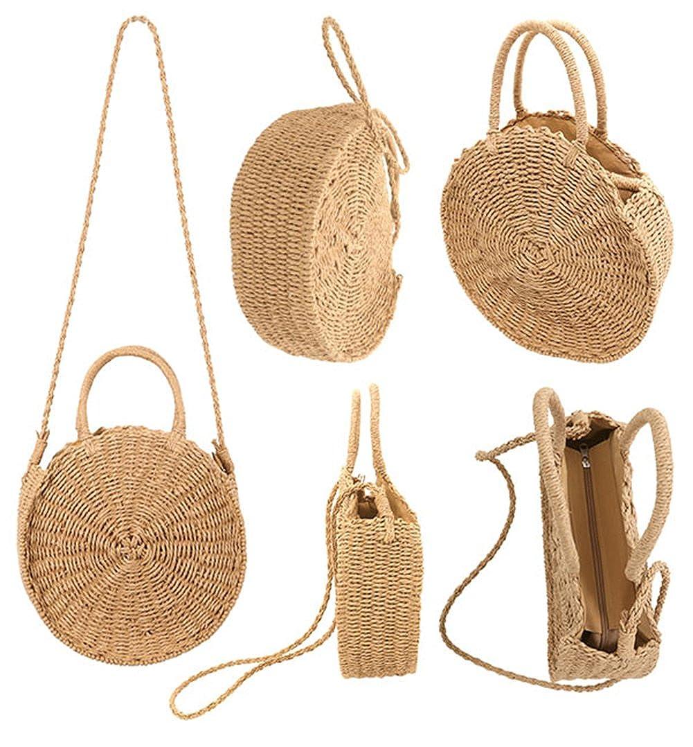 Amazon.com: SHUIBIAN - Bolso de playa de paja para mujer ...
