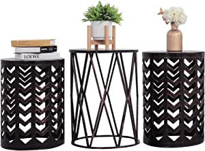 Y&M Nesting Side Table, Set of 3 Stacking Coffee Table for Living Room, Indoor End Tables, Outdoor Garden Stool with Heavy Duty Modern Industrial Decor - Black with Bronze Brush (Ship from US)