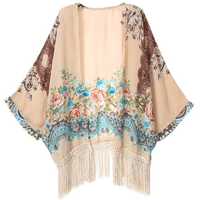 Solid Light Loose Chiffon Sheer Kimono Cardigan Blouses  AT vintagedancer.com