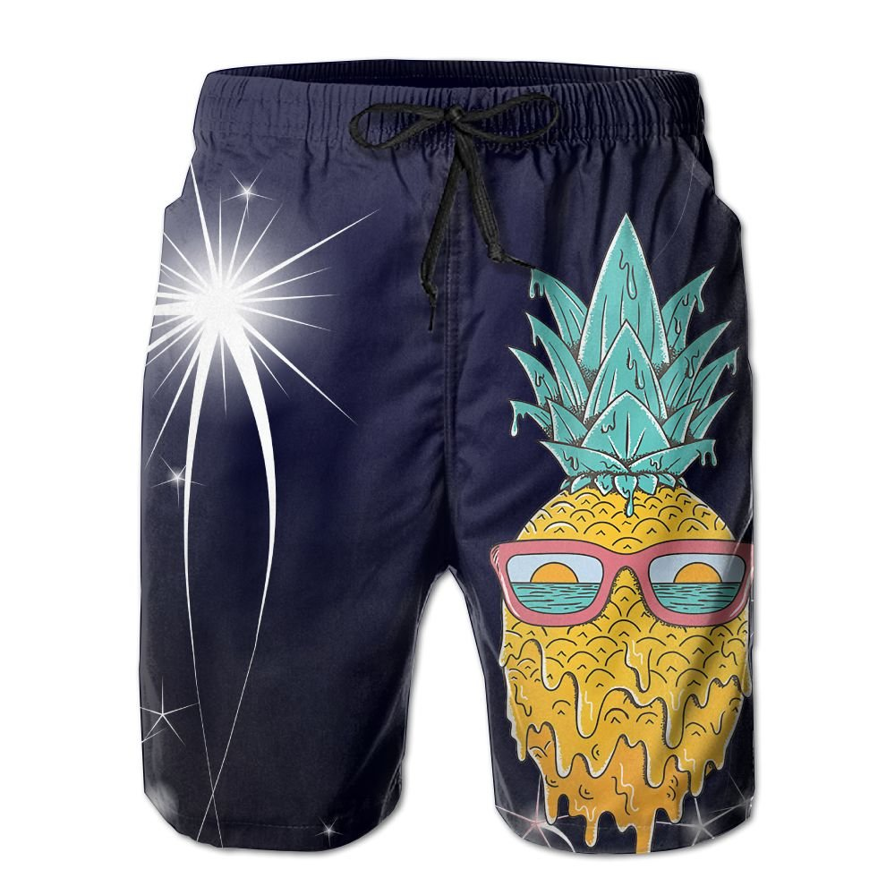 LiXiuL Adult-Men Melting Sunglasses Pineapple Summer Beach Shorts Quick Dry Swimming Beach Trunks Surfing Beach Trunk