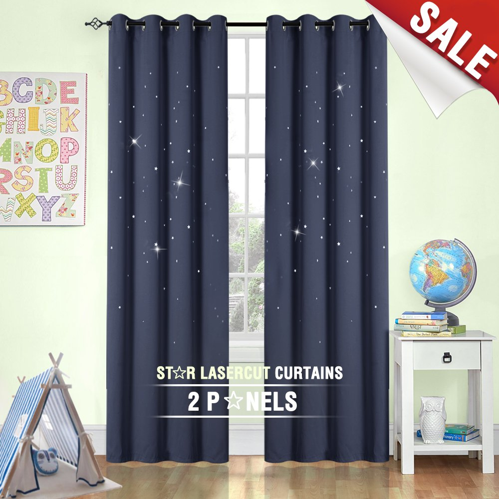 Blackout Curtains Star Outcut Kids Room Window Treatment 84 inch Blue, 2 Panels