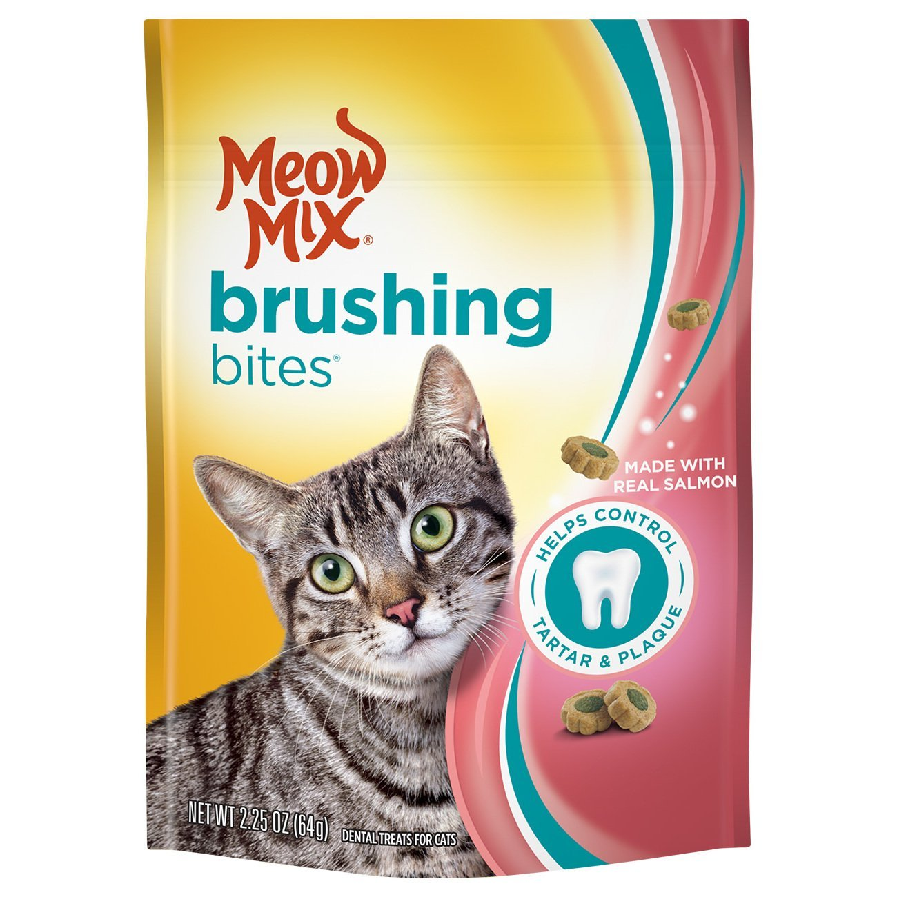 Meow Mix Brushing Bites Cat Dental Treats Made with Real Chicken - 9 oz (Pack