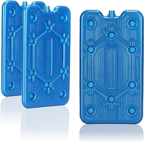 com-four® 3X Paquete de Hielo Plano - Ahorra Espacio y es Ideal para la Nevera y la Bolsa de frío - Elemento refrigerante Estrecho para el Camping y ...
