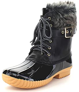 edc4fd85f4d Nature Breeze Duck-01 Women s Chic Lace Up Buckled Duck Waterproof Snow  Boots (8