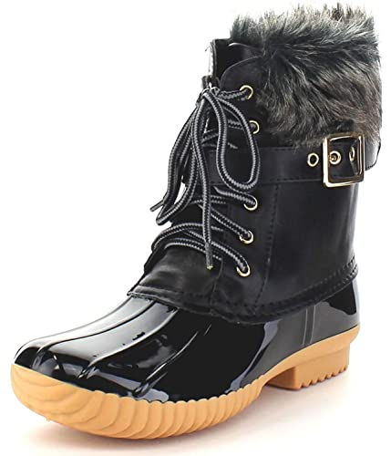 532df0e188 Nature Breeze Duck-01 Women's Chic Lace Up Buckled Duck Waterproof Snow  Boots (9 M US, Black)