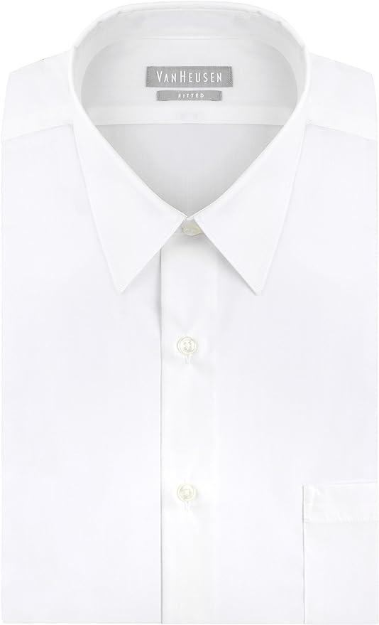 Van Heusen Men's Dress Shirt Fitted Poplin Solid