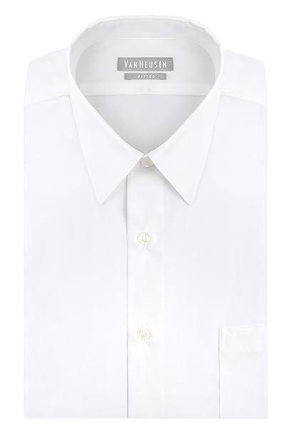 e85a45b26fe Van Heusen Men s Poplin Fitted Solid Point Collar Dress Shirt ...