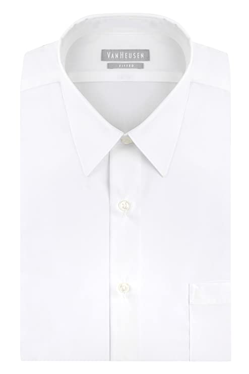 "Van Heusen Men's Poplin Fitted Solid Point Collar Dress Shirt, White, 15.5"" Neck 32""-33"" Sleeve"
