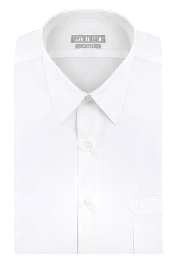 Van Heusen Men's Poplin Fitted Solid Point Collar Dress Shirt at Amazon Men's  Clothing store: