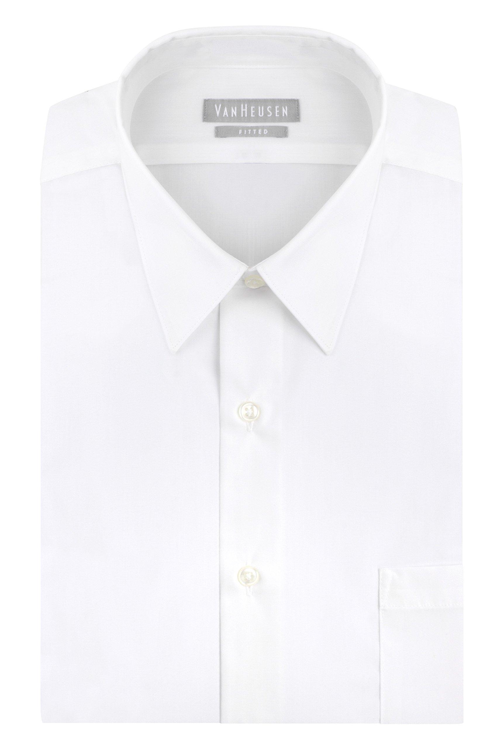 Van Heusen Men's Poplin Fitted Solid Point Collar Dress Shirt, White, 16.5'' Neck 34''-35'' Sleeve