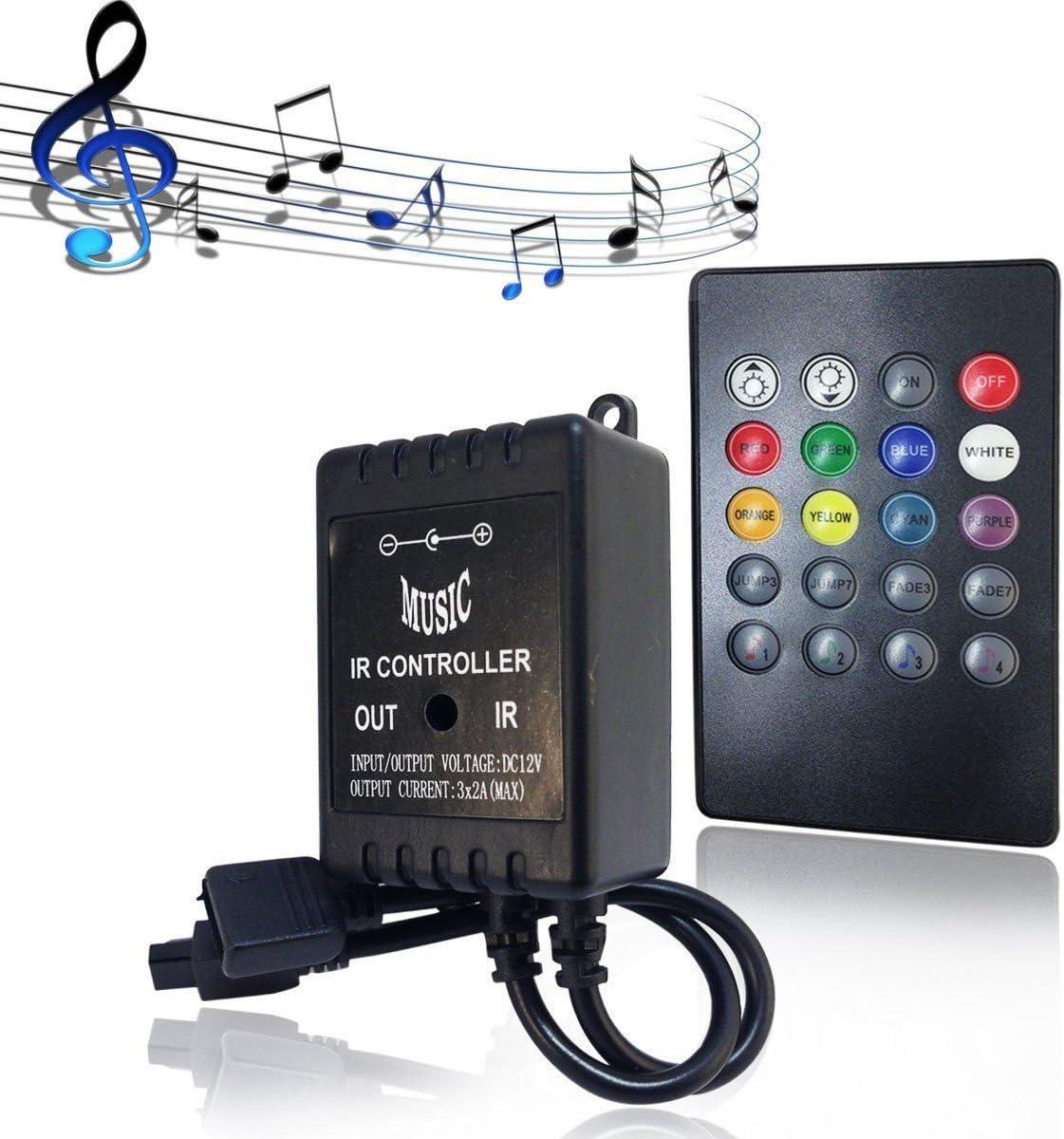 LED Controlador 20 Keys LED RGB Strip IR Remote Music Controller Control de Mando a Distancia Controlador para 3528/5050 SMD Tira LED RGB Tira de Luz LED DC 12V Cambio de Color LED Barra de luz