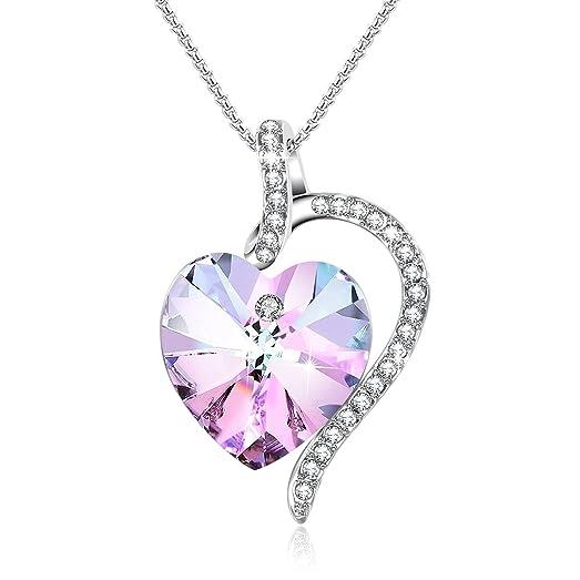 Amazon sheshine purple crystal heart pendant necklace jewelry sheshine purple crystal heart pendant necklace jewelry gifts for women crystal from swarovski aloadofball Images