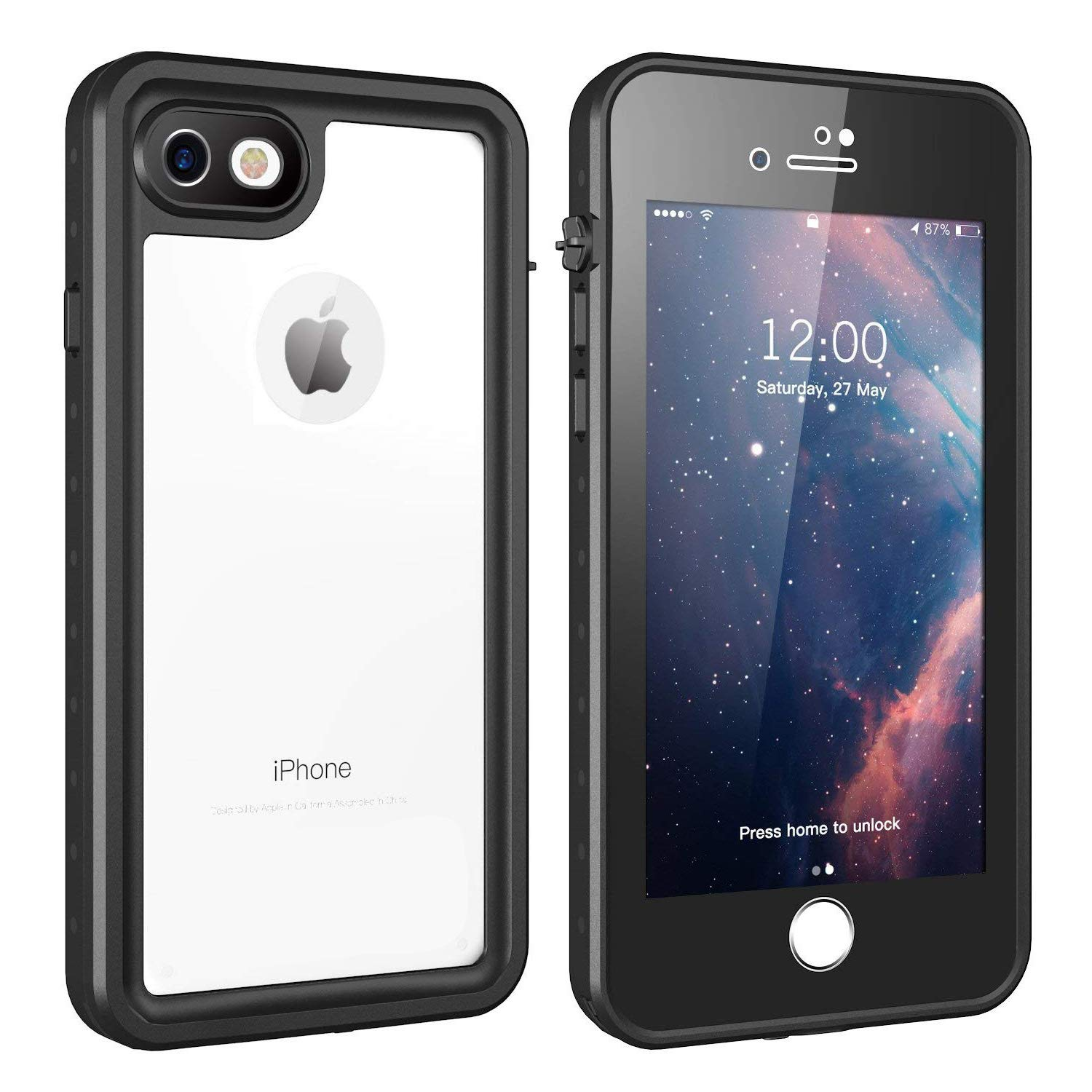 purchase cheap 1fbbb 09a0e iPhone 7/8 Waterproof Case, Gnais Shockproof Dirtproof Snowproof IP68  Certified Waterproof Clear Case with Built-in Screen Protector Full-Body  Rugged ...