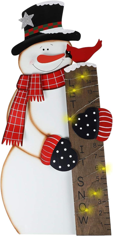 MorTime Snowman Snow Gauge Garden Stake, Christmas Metal Snow Measuring Stick Outdoor Yard Decoration