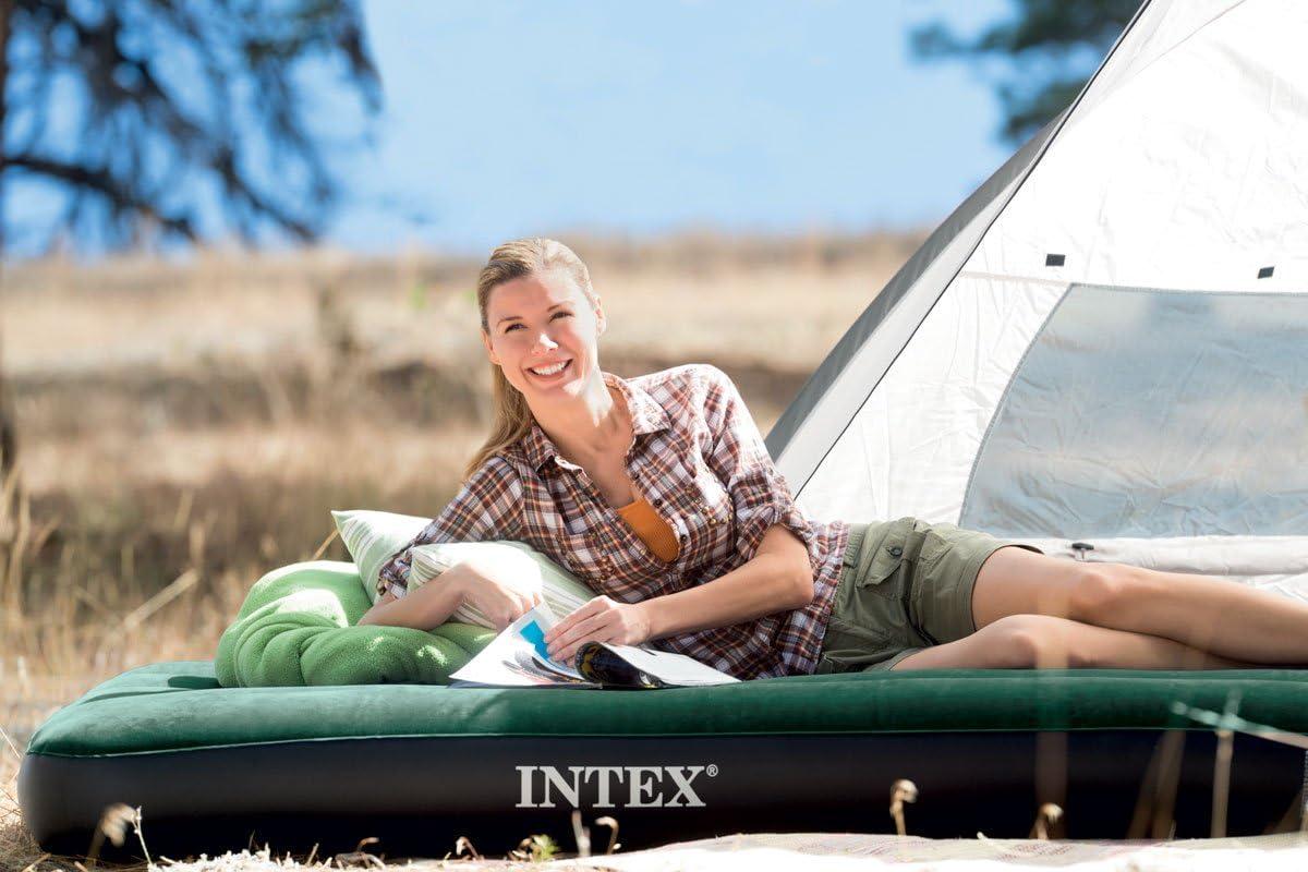 INTEX Matelas prestige downy 1 place large avec gonfleur inclus Fiber-Tech
