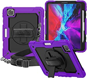 CLARKCAS iPad Pro 12.9 Case 2020 with Screen Protector iPad Pro 4th Generation Kids Rugged Cover Pencil Holder Stand Purple