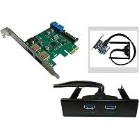 KALEA-INFORMATIQUE © - Carte Controleur PCI EXPRESS (PCI-E) vers USB 3.0 - 2+2 PORTS SUPERSPEED - AVEC BAIE POUR FACADE
