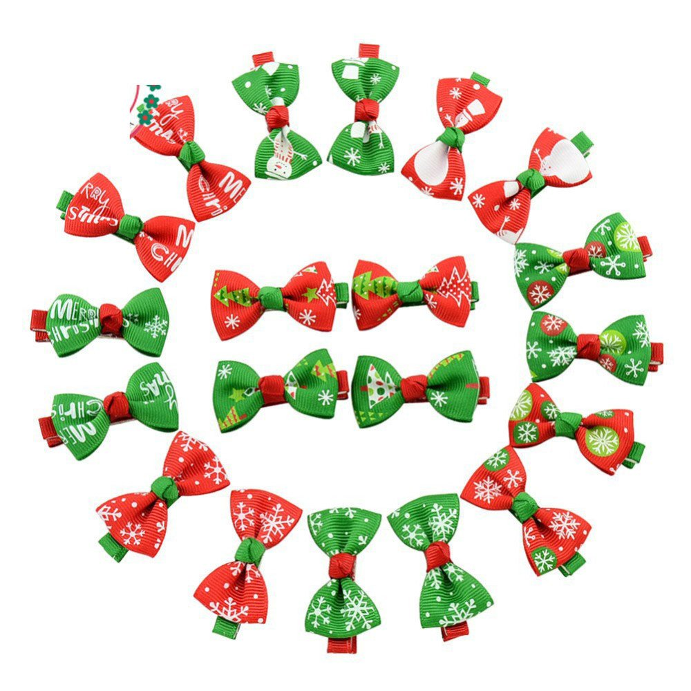 yagopet 40pcs/20pairs Dog Hair Clips Christmas Styles Dog Hair Bows for Holidays Festival Dog Bows Pet Dog Grooming Bows Dog Hair Accessories by yagopet