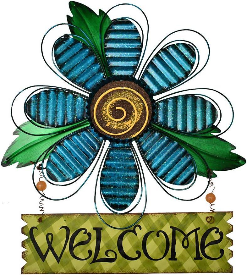 Attraction Design Welcome Sign for Front Door Decor Hanging Sign, Metal Flower Welcome Door Sign Wall Art Decor Hanging for Indoor Outdoor Patio Garden Yard Sign Porch Decoration 15.75X12.75In (C)