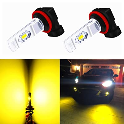 Alla Lighting 3800lm Xtreme Super Bright H11 H8 LED Fog Lights Bulbs 3000K Golden Yellow ETI 56-SMD 12V DRL Replacement for Fog Lamps H16: Automotive