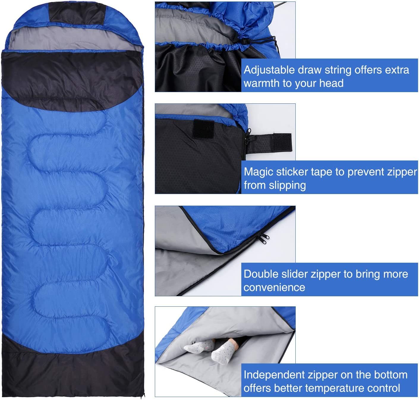 Lightweight and Waterproof for Camping//Traveling//Hiking 23℉//-5℃ Extreme 4 Season Camping Winter Hooded Sleeping Bag with Compression Sack Oudort Sleeping Bag for Adults and Kids