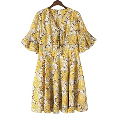 6e2b5b9664 QZUnique Women's Chiffon Plus Size Floral Print Midi Dresses V Neck Medium  Sleeves Beach Loose Skirt