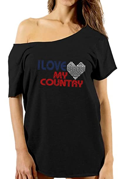 f2f826d597db6 Vizor I Love My Country Off Shoulder Tshirt Women s USA Flag Shirt 4th of  July Black