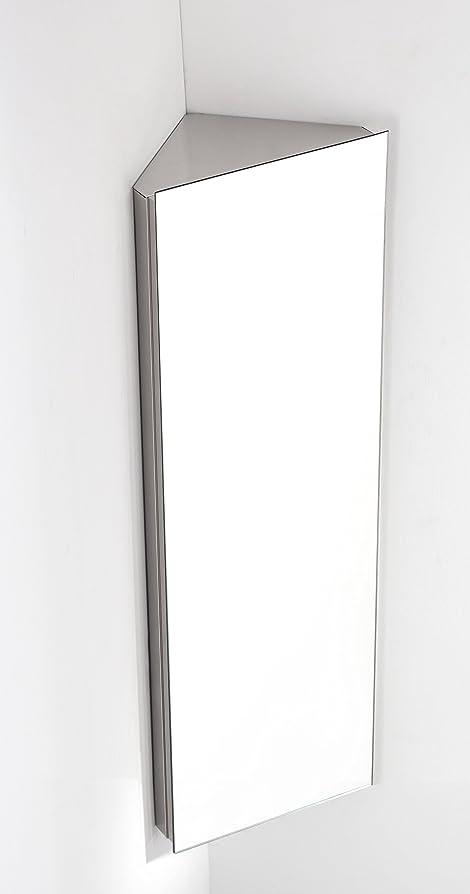 Reims Single Door 120cm Tall X 38cm Wide CORNER Mirror Bathroom Wall Cabinet
