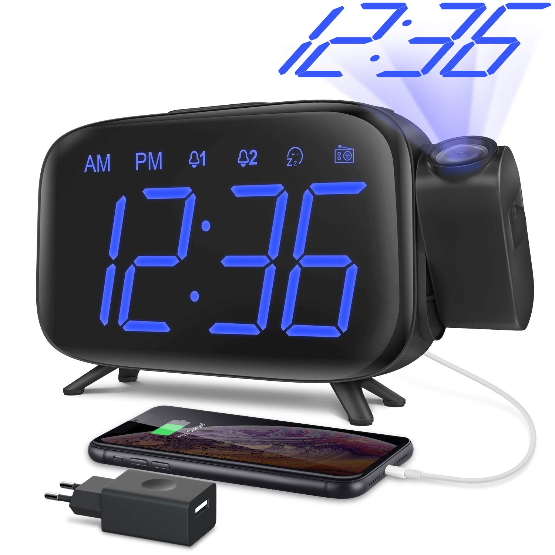 ELEHOT Despertador Digital Proyector Radio Despertador Reloj de ...