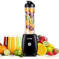 Aicok Mini Blender, Smoothies Mixeur, Bouteille de Tritan 600mL Sans BPA, Moteur Puissant et 4 Lames en acier inoxydable, pour Milk-shake, Smoothies et Jus de Fruits et Legumes, 300W, Noir