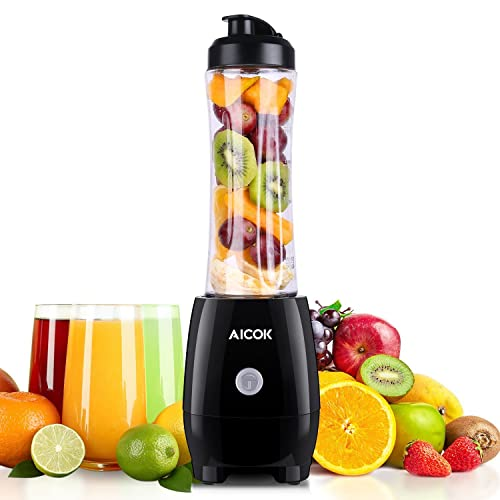 Aicok Personal Blender, Mini Smoothie Maker with 600ml Tritan BPA-Free Portable Bottle, Stainless Steel Blades , 300W, Black