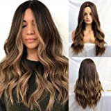 24 Inches Ombre Brown Wig Synthetic Long Wigs for Women Natural Wave Hair Wigs Middle Part Heat Resistant Natural…