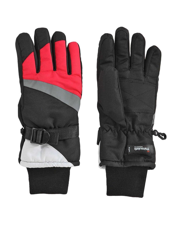 Aquarius Big Girls Thinsulate Reflective Ski Gloves Black /& Pink