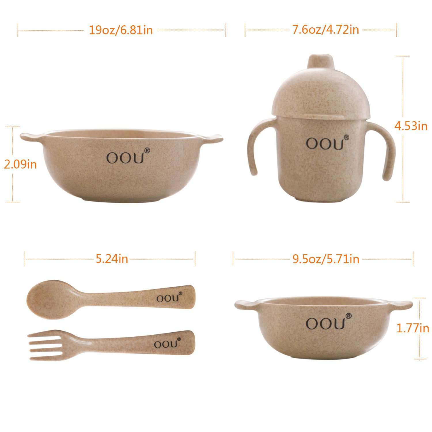 Baby Feeding Bowls - Wheat Fiber Ultimate Baby Feeding Set Baby Bowls Fork Spoon and Cup Perfect To Go Storage FDA Approved BPA Free CPC Certified by OOU (Image #5)